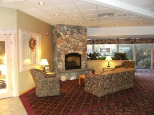 Fireside Inn & Suites in Portland - Lobby Fireplace