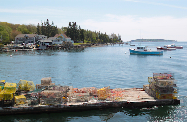 Boothbay Harbor with Lobster Traps