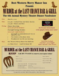 Murder At The Last Chance Bar  Grill Flyer